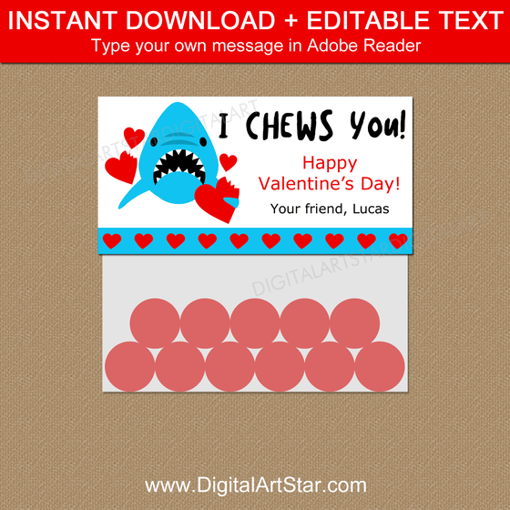 I Chews You Valentine Printable Bag Toppers