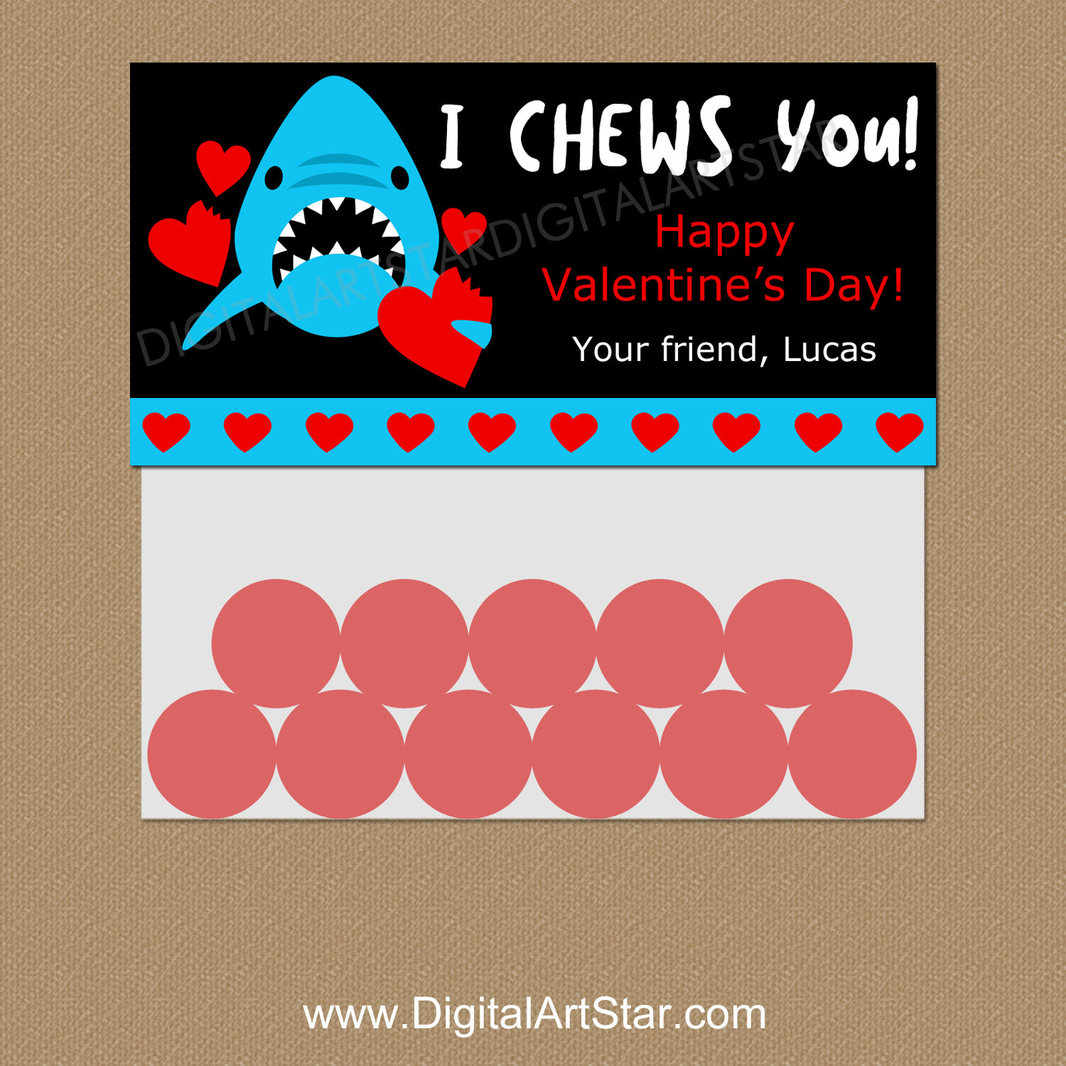 I Chews You Valentine's Day Treat Bag Toppers Personalized