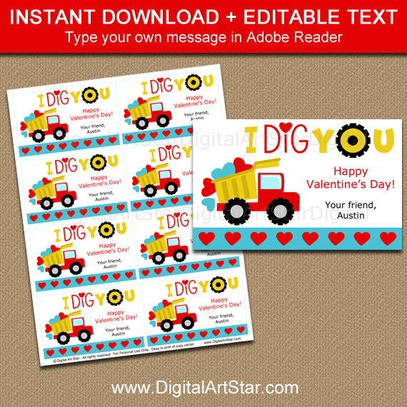 I Dig You Valentine Printable Cards for Classmates