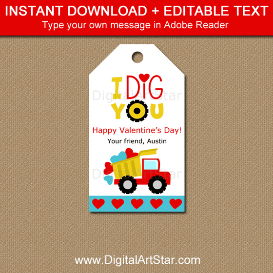 Dump Truck Valentine Printable Tags That Say I Dig You