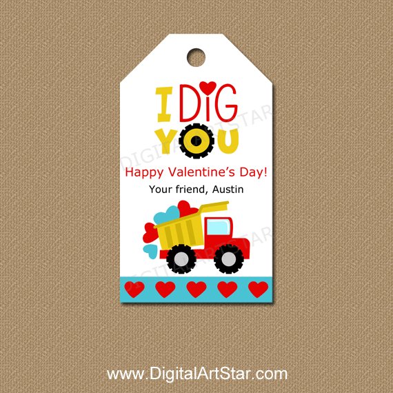 I Dig You Valentine Tags Personalized