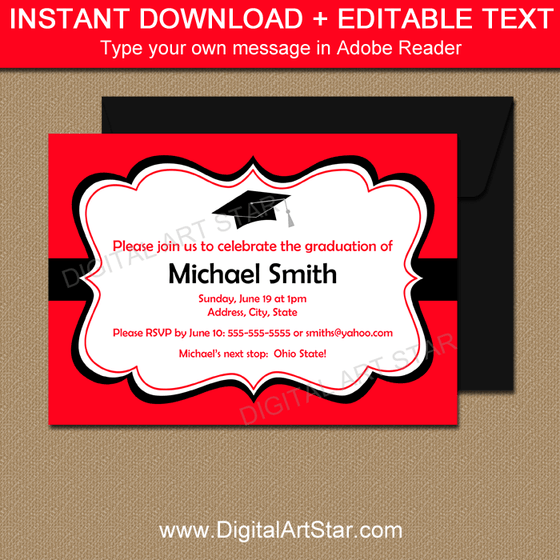 Instant Download Graduation Invitations Red and Black