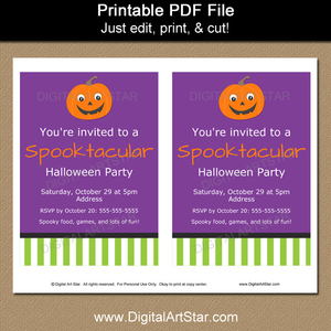Printable Smiling Pumpkin Invites with Editable Text