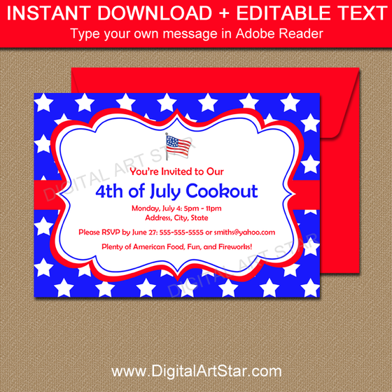 July 4th Party Invitations Printable