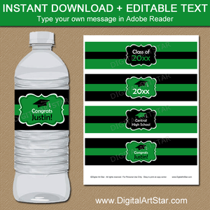 Kelly Green Graduation Water Bottle Labels with Editable Text