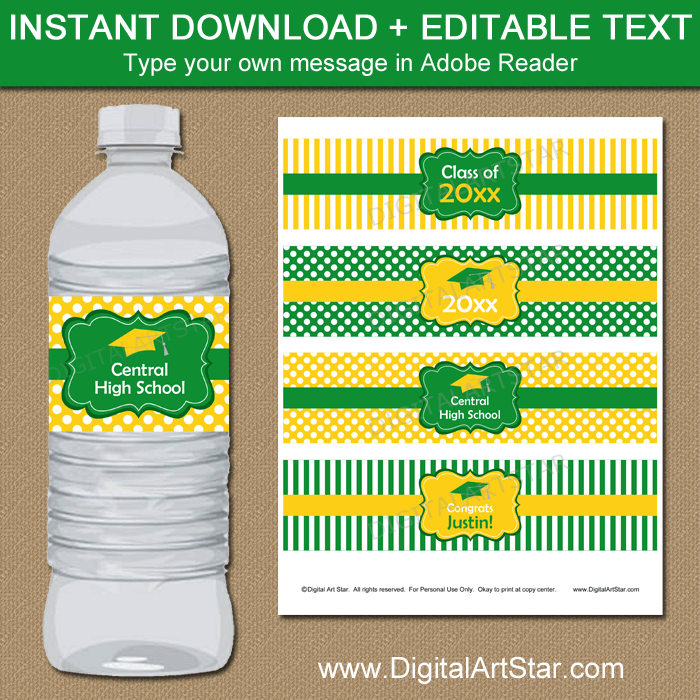 picture relating to Water Bottle Labels Printable titled Kelly Inexperienced and Yellow Commencement Drinking water Bottle Labels Printable