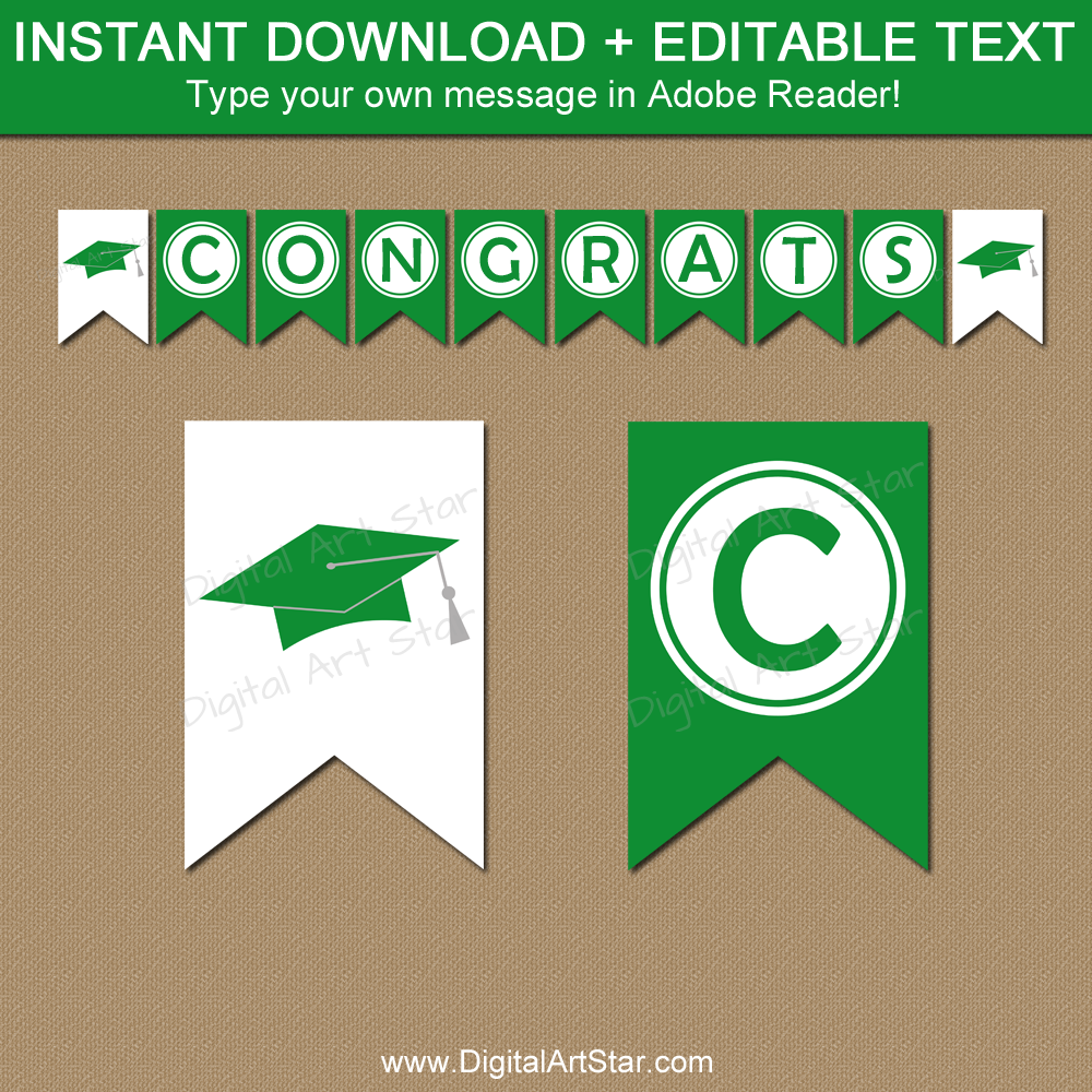 Kelly Green and White Graduation Banner Printable