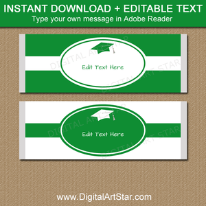 Kelly Green and White Graduation Candy Bar Wrappers Instant Download