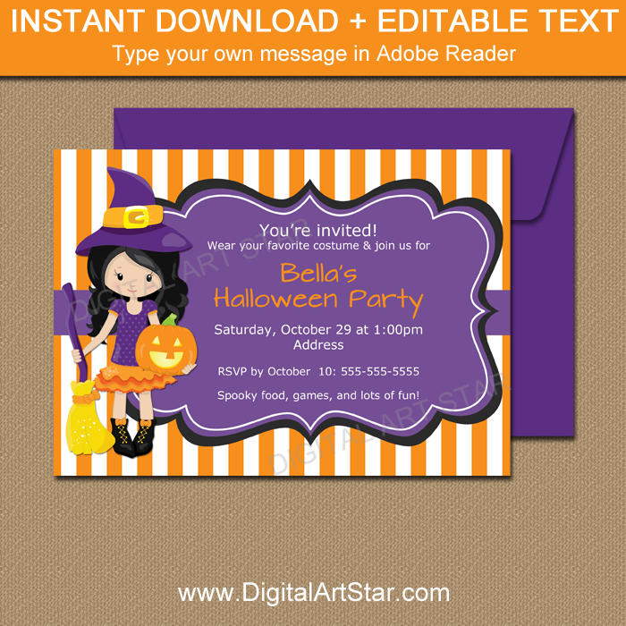 Kids Halloween Birthday Party Invitation Printable
