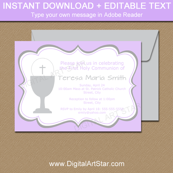 Editable First Communion Invitation Lavender and Gray