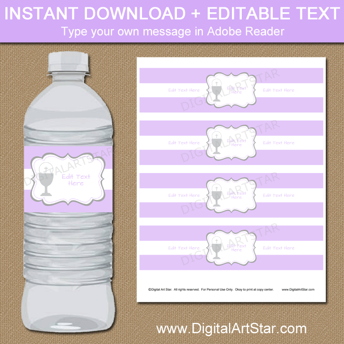 photo regarding Printable Water Bottle Labels identified as Lavender Female 1st Communion Printable H2o Bottle Labels