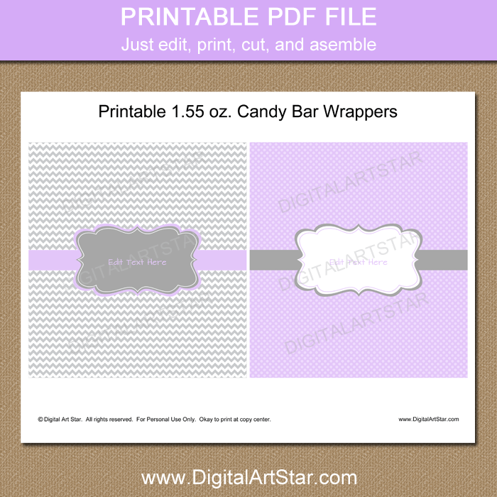 picture regarding Free Printable Candy Bar Wrappers Templates called Lavender and Grey Child Shower Sweet Bar Wrapper Template