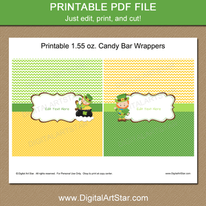 Leprechaun Candy Bar Wrappers Printable