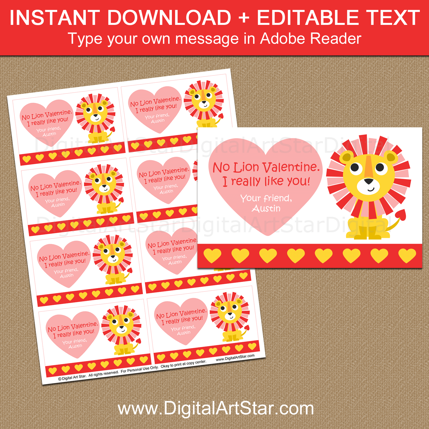 Editable Valentine's Day Card Template with Lion