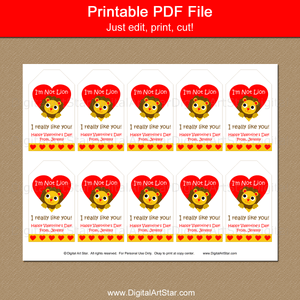 Cute Valentine Tags Printable for Treat Bags