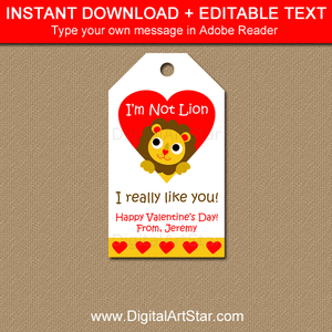 Lion Valentines Day Tags for Students