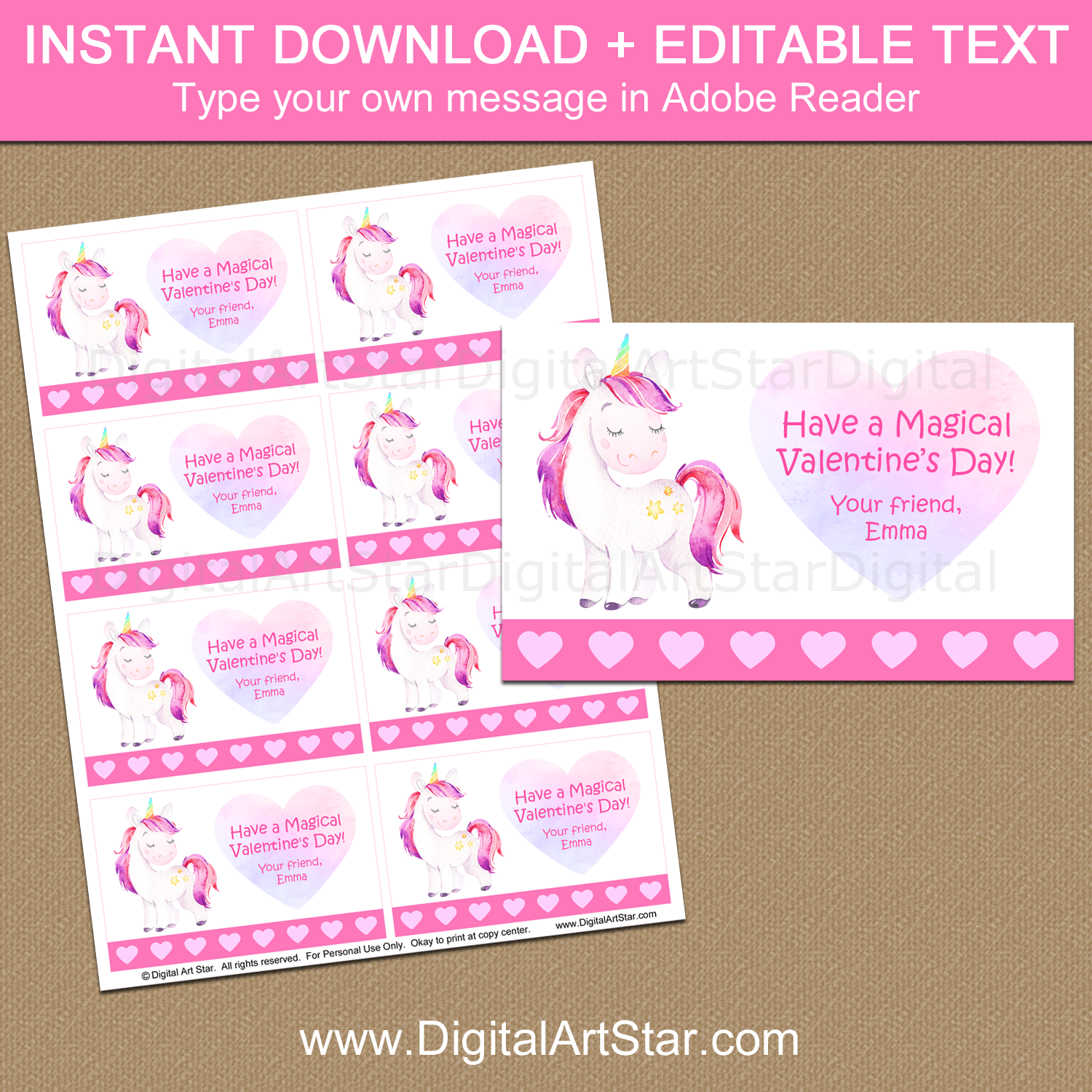 Magical Unicorn Valentines Day Cards Printable
