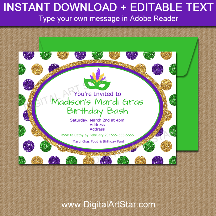 Mardi Gras Glitter Invitation in Purple, Green, Gold