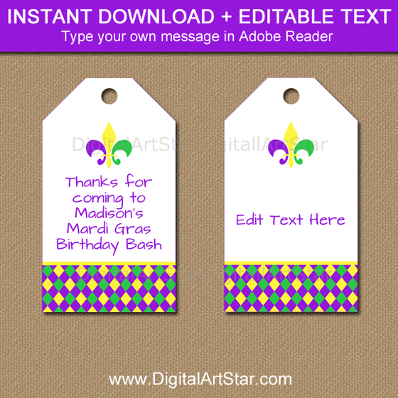 Editable Mardi Gras Tags Instant Download