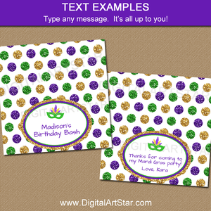 Editable Mardi Gras Treat Bag Toppers Template