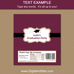 Editable Graduation Candy Bar Label in Maroon Gold Black White