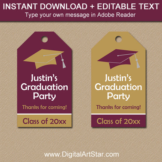 Maroon and Gold Editable Graduation Tags
