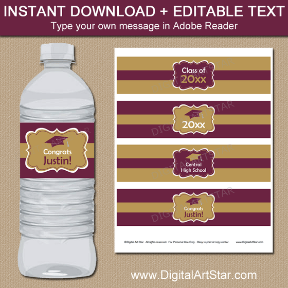 Maroon and Gold Graduation Water Bottle Label Template