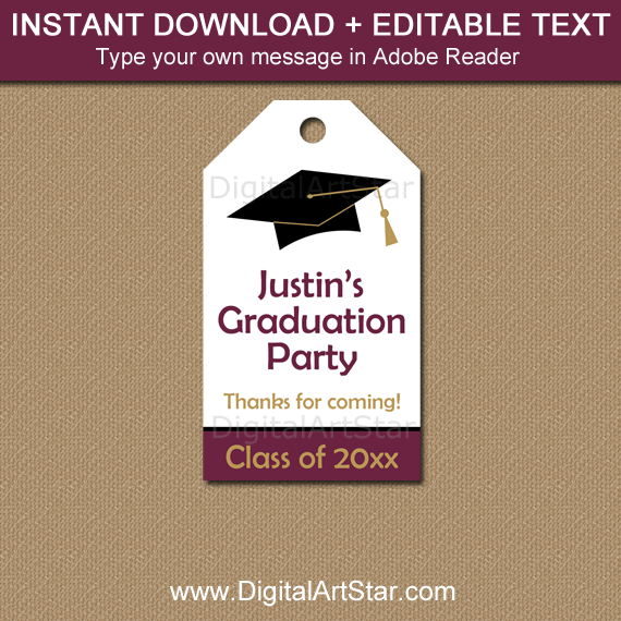 Editable Graduation Favor Tags Maroon White Black Gold