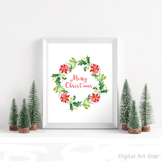 Merry Christmas Sign Printable with Watercolor Wreath