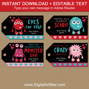 Black Monster Valentine Gift Tags Template Instant Download