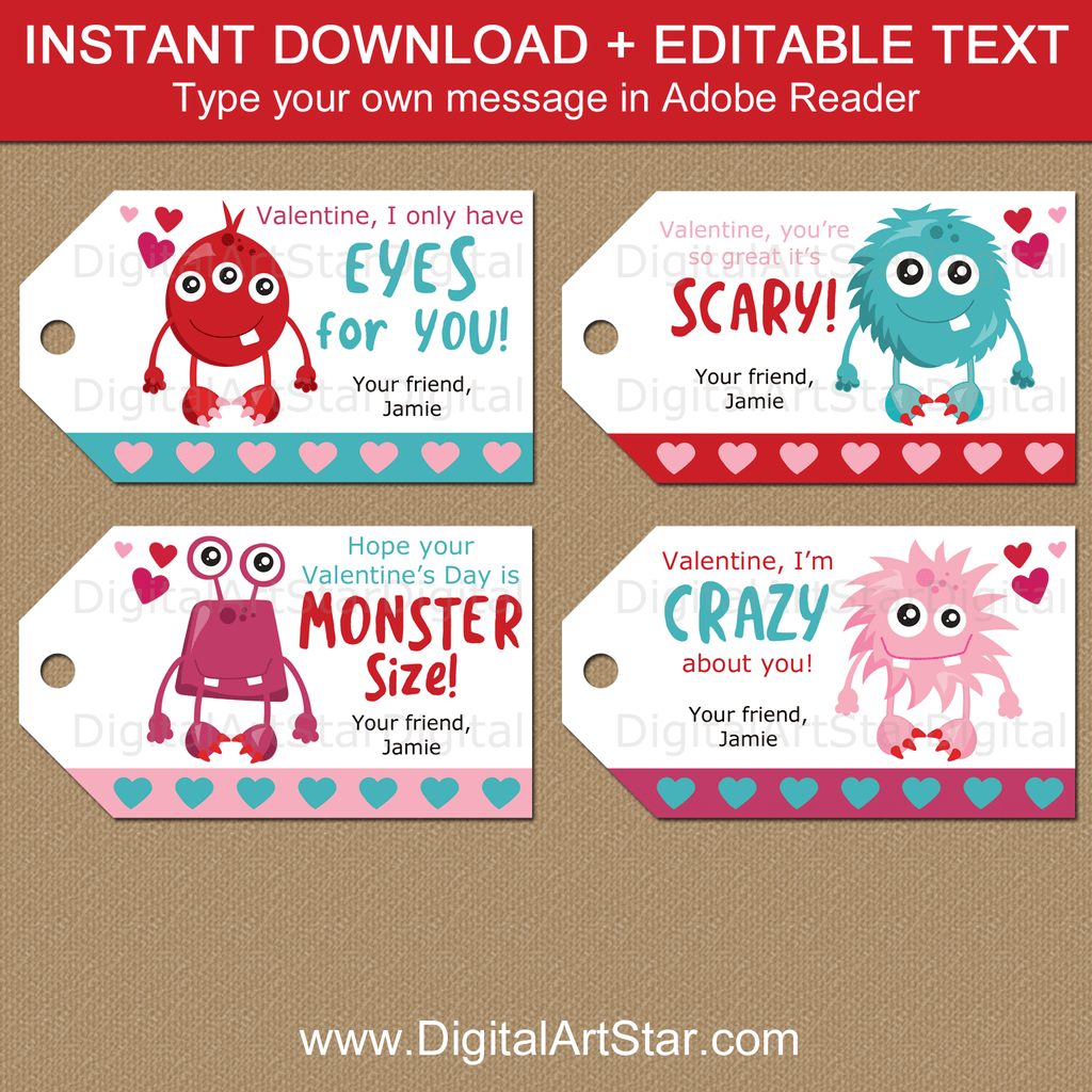 Monster Valentines Day Gift Tags for Kids