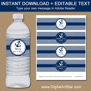 Nautical Water Bottle Labels for Ahoy Its a Boy Baby Shower