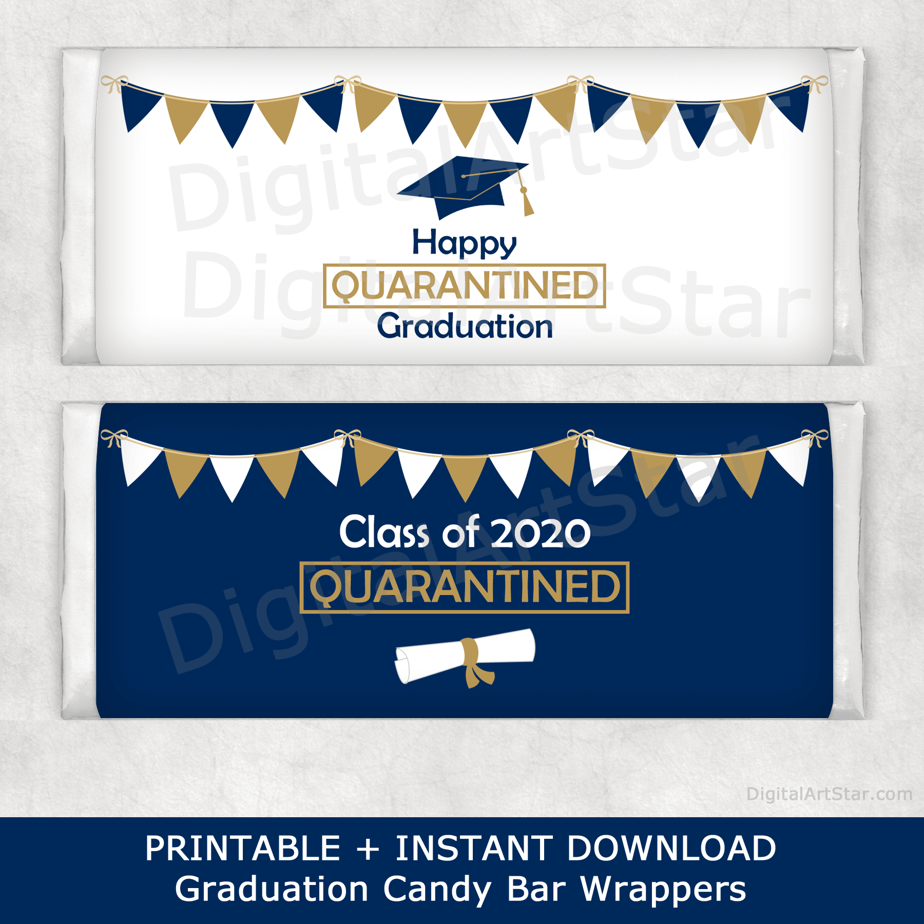 Navy Blue and Gold Graduation Quarantine Candy Wrappers Printable