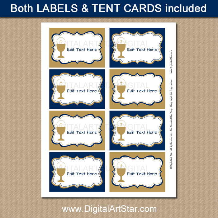 Navy Blue and Gold First Communion Food Labels Printable