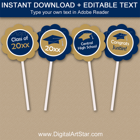 Navy Blue and Gold Graduation Cupcake Toppers Printable