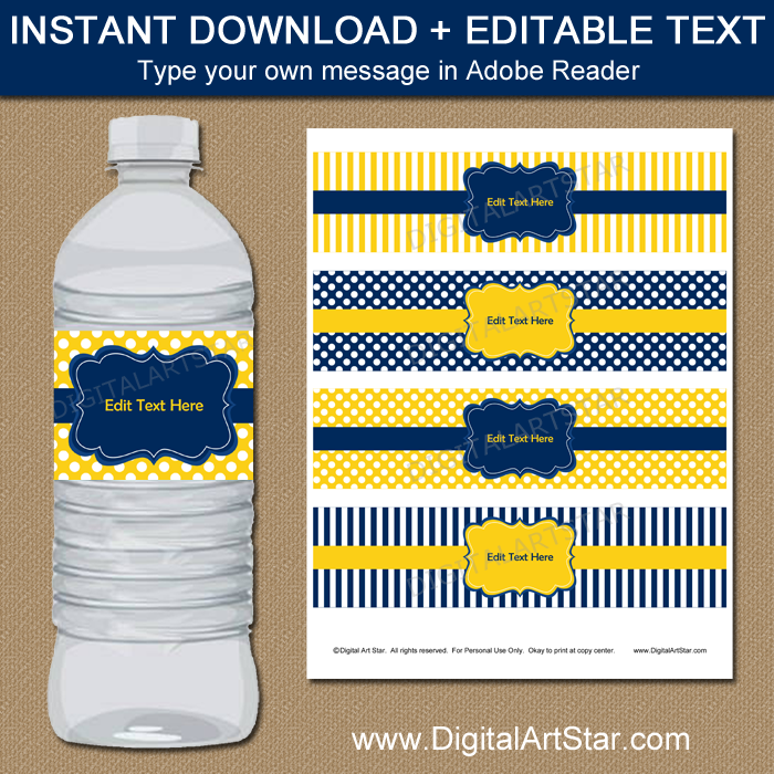Navy Blue And Yellow Water Bottle Label Template Digital Art Star