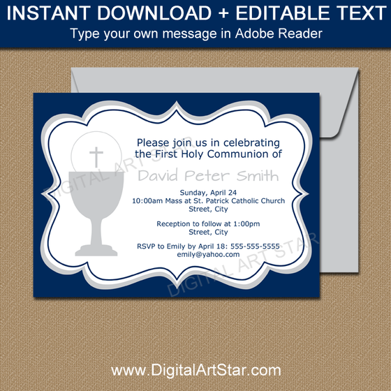 Navy First Holy Communion Invitation Template