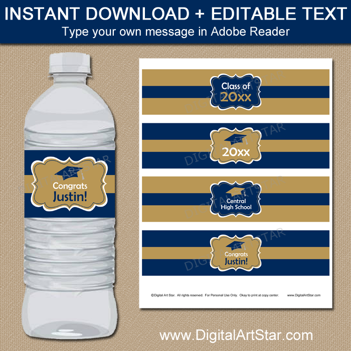 Navy and Gold Graduation Water Bottle Labels with Editable Text