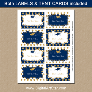 Navy and Gold Printable Graduation Food Labels with Glitter Stars