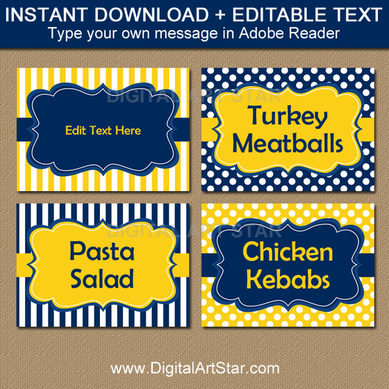 Navy and Yellow Food Labels for Party