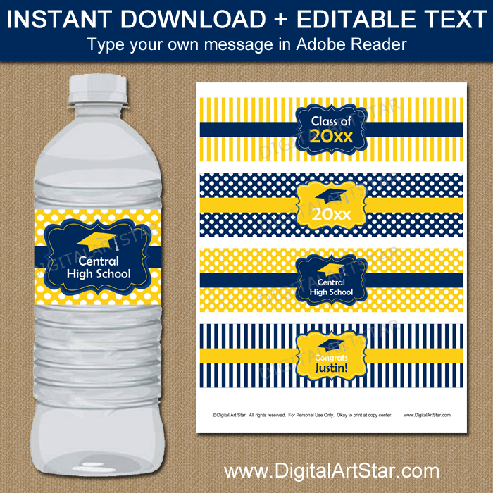 Navy and Yellow Graduation Water Bottle Labels Download