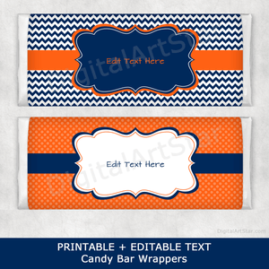 Orange and Navy Blue Printable Candy Bar Wrappers with Editable Text