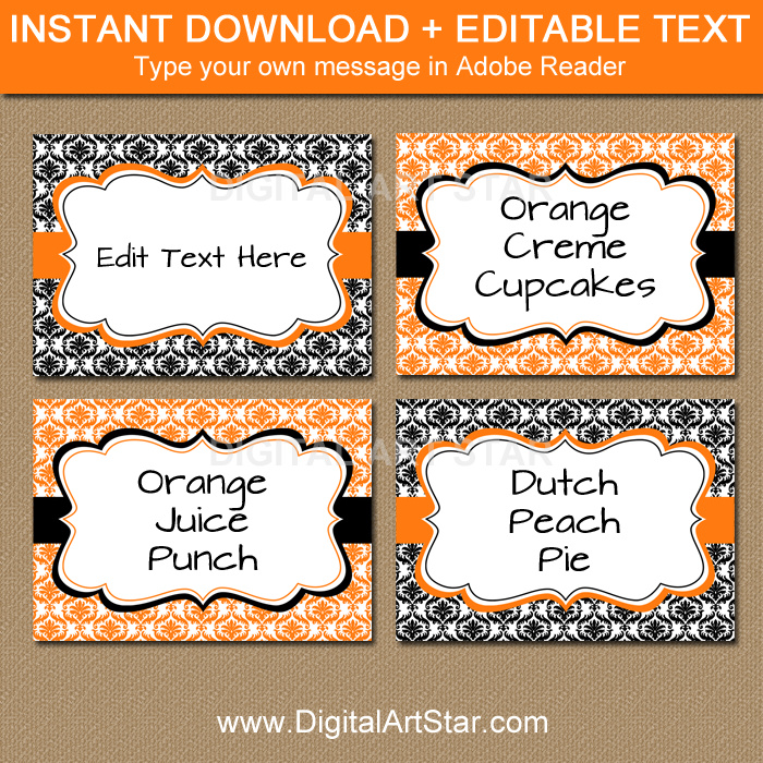 Orange and Black Candy Buffet Labels for Halloween
