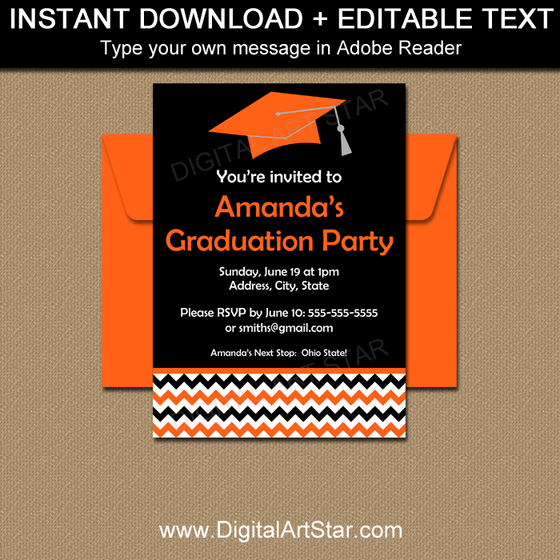 Editable Graduation Invitation Template