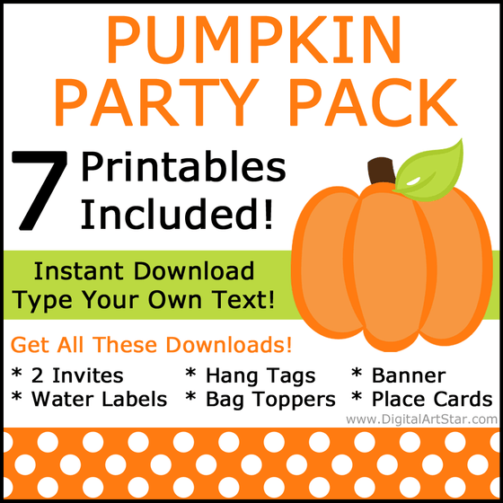 Orange and Black Pumpkin Printable Party Supplies Pack