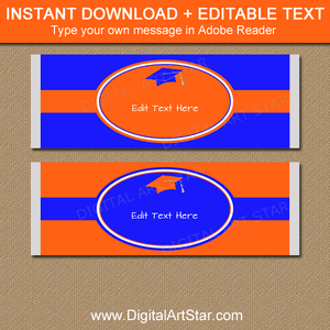 Orange and Blue Graduation Candy Bar Wrappers Instant Download