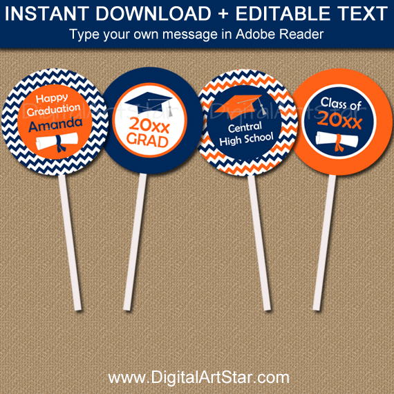 Orange and Navy Graduation Cupcake Toppers Editable Template