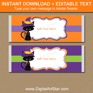Orange and Purple Halloween Candy Bar Wrappers Instant Download