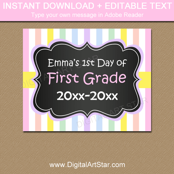 Instant Download Back to School Sign for Girls