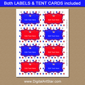 Patriotic Printable Food Labels for Buffet on July 4th